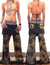 GYPSY BOHO HIPPIE Vtg 70's BELL BOTTOMS TIEDYE PANTS TROUSERS HIPPY SKIRT SZ S/M