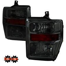 08-10 Ford F250 F350 Super Duty Smoked Tinted Headlights w/Amber Reflector SDV1