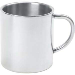 COFFEE MUG 15oz Silver Double Wall Insulated Stainless Steel Mug Tumbler Handle