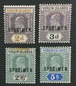 MOMEN: VIRGIN ISLANDS SG #56s,58s,61s-62s SPECIMEN MINT OG H LOT #191481-690