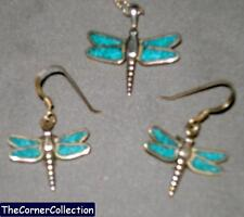 SILVER LEGENDS STERLING SILVER & TURQUOISE DRAGONFLY NECKLACE & EARRINGS