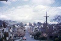 35mm Slide 1950s Red Border Kodachrome Oceanview Ave Street View Houses Cars