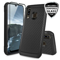 For Samsung Galaxy A20 A50 A30 Case, Carbon Fiber TPU Armor+Black Tempered Glass