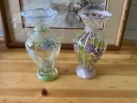 Pair Of Tracy Porter Hand Painted Glass Floral Bud Vases