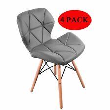 Pack 4 Sillas de comedor nórdico diseño sillas de acero de pierna Gris/Negro