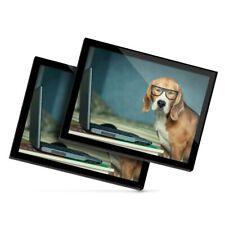 2 X Manteles Individuales De Cristal 20x25 Cm-Gracioso Gafas Beagle Perro #3088