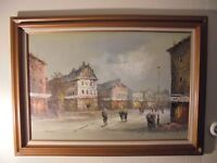 """Painting Mid-Century Large Oil Canvas of European Street Scene 36"""" by 24"""""""