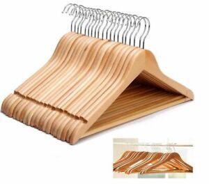 20 Wooden Coat Hangers Suit Trouser Garments Clothes Coat Hanger Bar