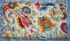 Gudri Kantha Quilt Indian Handmade Floral Bedspread Bed Cover Throw Queen Size
