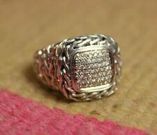 John Hardy Classic Chain Diamond Ring - Sterling Silver 18k Gold .50tcw