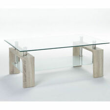 Rectangle Living Room Glass Less than 60cm Coffee Tables