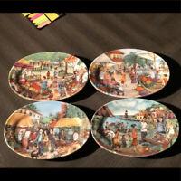 """Brunelli Vintage Italian Made Farmers Market Painted Oval Salad Plates 8x5.5"""""""