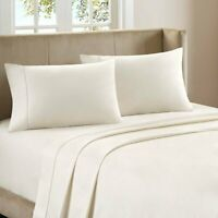 100% Percale Cotton 400 TC 4 Piece Sheet Set Size Queen Ivory Solid LW