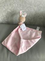 TU Sainsbury's Pink Stripe Bunny Rabbit Baby Comforter Blanket toy blankie soft