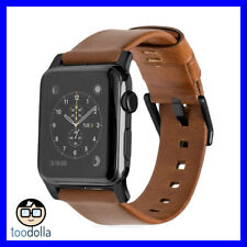 NOMAD Horween Genuine Leather Strap band, Apple Watch 42/44mm Rustic Brown/Black
