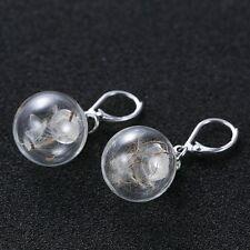 1Pair Real Dandelion Seeds Wishing Bottle Orb Glass Vial Dangle Hoop Earrings
