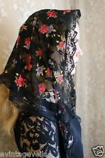 Evintage Veils~ Black French Lace Watercolor Flowers Chapel Veil Mantilla Triang