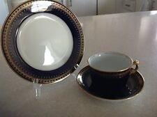 Royal Romanov Genuine Cobalt Blue 3 Piece Place Setting Cup Saucer & Plate ~New