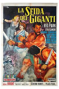 manifesto 2F film LA SFIDA DEI GIGANTI Reg Park Gia Sandri 1965 peplum