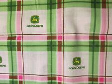 JOHN DEERE LOGO PLAID PINK GREEN COTTON FABRIC FQ OOP