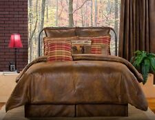 """Dark Brown/Red Lodge Style Faux Leather Lined Curtain Panels & Tiebacks 84"""" Long"""