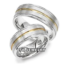 18K TWO TONE GOLD HIS & HERS MATCHING WEDDING BANDS RINGS SET