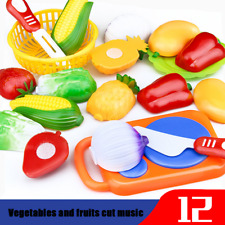 12PC Cutting Fruit Vegetable Pretend Play For Children Kids Educational Toys USA