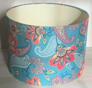 Vintage MCM Lampshade Mid Century Retro Tiffany Blue Paisley Pattern Fabric