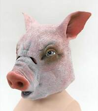 PIG RUBBER OVERHEAD MASK, FANCY DRESS RUBBER ANIMAL MASK #AU