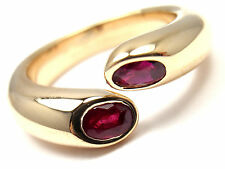 Authentic! Cartier 18k Yellow Gold Ruby Ellipse Deux Tetes Croisees Bypass Ring