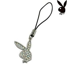 Playboy Cell Phone Charm w Strap Bunny Swarovski Crystal Silver Pendant Necklace