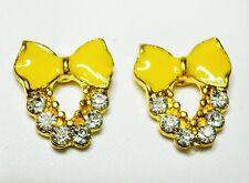 Yellow Bow Enamel Effect Gold Tone Stud Earrings 10 x 15mm