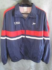 4a2561d71 80 s Speedo USA Mesh Lined Track Jacket Size Large Antron Nylon Made in USA