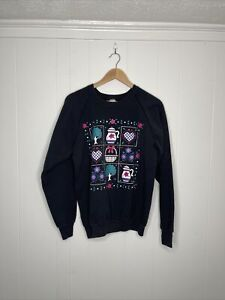 Vintage 80s90s Flower Garden Sweatshirt Crewneck Size XL Black Made In USA