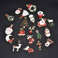 20Pcs Enamel Alloy Mixed Christmas Charms Pendant Jewelry Decor DIY Craft Making