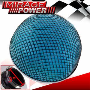 """Universal 3"""" 76mm Inlet Mushroom Filter Blue Foam Short & Cold Air Turbo Intake"""