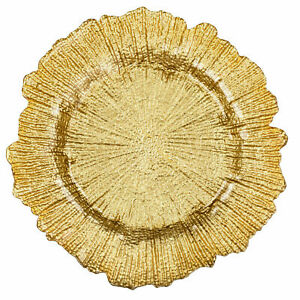 WeddingGeneral GLASS REEF CHARGER PLATE GOLD XMAS EVENTS WEDDINGS 33CM DIAMETER
