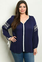 Womens Plus Size Navy Blue Tunic Top 3XL Embroidered Accent Long Sleeve Boho