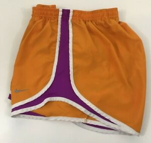 Nike Dri Fit Women's small Lined Short Medium Orange with pink and white stripe