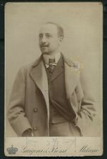 Vintage Italian Poet: Gabriele D'Annunzio Cabinet Card Photograph c. 1889
