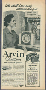 Arvin Vacationer Portable Radio Vintage Magazine Ad 1952