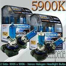 9005 + 9006 100W SUPER WHITE XENON HALOGEN HEADLIGHT BULBS - LOW&HIGH BEAM COMBO