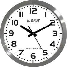 """La Crosse Technology WT-3161 Brushed Metal 16"""" Analog Atomic Clock"""