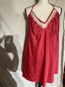 Secret Treasures Satin Chemise Negligee Nightgown Bright Pink  2X 18-20W