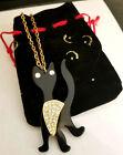 "Black Halloween Cat Rhinestones Pendant w Chain Link Necklace 18"" Gold Tone"