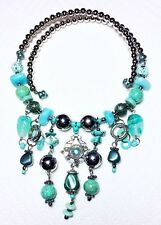 Turquoise And Silver Bead Bib Style Statement Necklace On Wire