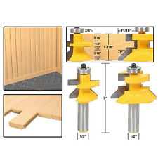 """New 2x Carbide 45° Router Bit 1/2"""" Shank x 1-1/8"""" Matched Tongue &Groove V-Notc"""