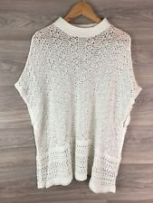 TOPSHOP OFF WHITE CREAM CROTCHET PONCHO JUMPER SIZE S 8 10 12 14 8090