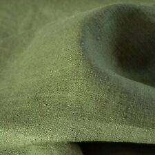 """Textiles français 100% Linen Fabric - Olive Drab 150 cm / 59"""" wide - per metre"""