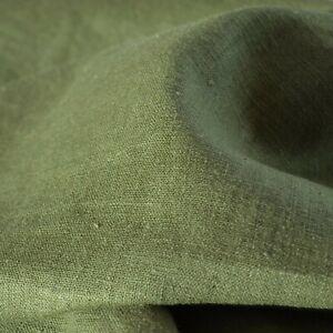 """Textiles français 100% Linen Fabric - Olive Drab 150 cm / 59"""" wide - per 50 cm"""